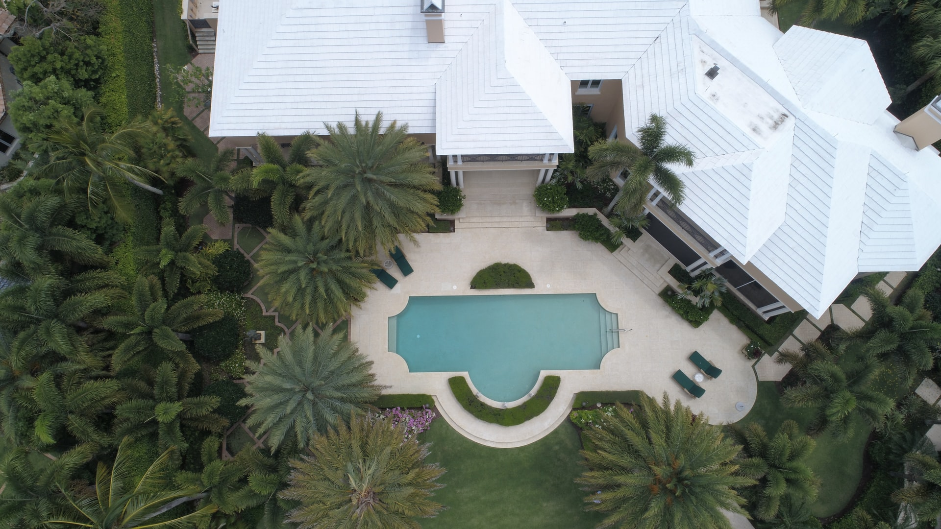 luxury mansion drone shot